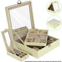 Caixa Para Joias Bijuteria Espelho Luxo Creme CBRN13043 - Commerce Brasil