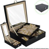 Caixa Para Joias Bijuteria Espelho Luxo Preto CBRN13050 - Commerce Brasil