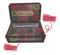Caixa para kit gin tônica e especiarias com visor e 8 divisórias - Girassol