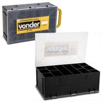 Caixa Plástica Organizadora Vonder VD2003 Alça para Transporte Dupla com Tampa Preta e Amarela -