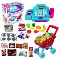 Caixa registradora colors com som e luz + carrinho de compras e acessorios a pilha na caixa wellkids - Wellmix