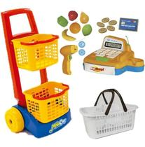 Caixa Registradora De Brinquedo Infantil + Carrinho + Cesta - Usual Brinquedos