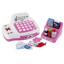 caixa registradora infantil com luz e som rosa poderosas - Multikids