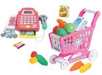 Caixa registradora infantil de brinquedo com acessórios e carrinho de compras SuperMarket BBR TOYS -
