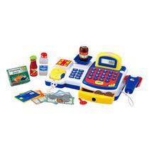 Caixa Registradora Infantil Maquina Calculadora e Acessórios Azul Meninos Com Balança - Dm Toys