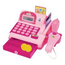 Caixa Registradora Infantil Maquina Calculadora e Acessórios Rosa meninas - Dm Toys