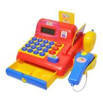 Caixa Registradora Infantil Maquina Calculadora e Acessórios Vermelha Meninos - Dm Toys