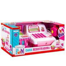Caixa Registradora Infantil Moeda Cartão Dinheiro - Rosa - Multikids Baby