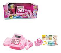 Caixa Registradora Infantil Rosa Com Luz E Som Candy Caixa - Art Brink