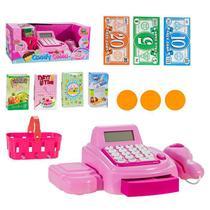 Caixa Registradora Infantil Rosa Com Luz E Som Candy Caixa ArtBrink ZB196 - Art Brink