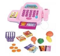 Caixa Registradora Menina Rosa Infantil com Acessórios Luz e Som - Well kids -