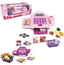 Caixa registradora rosa c/ som e luz + acessórios glam girls - Weel Kids