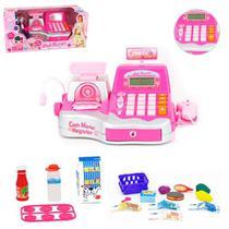 Caixa Registradora Rosa Com Som E Luz + Acessorios Cash Register A Pilha Na Caixa - 20 comercial