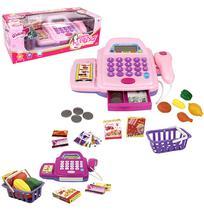 Caixa registradora rosa com som e luz + acessorios glam girls a pilha na caixa wellkids - Wellmix