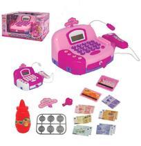 Caixa registradora rosa com som e luz + acessorios swett princess a pilha na caixa wellkids - Wellmix
