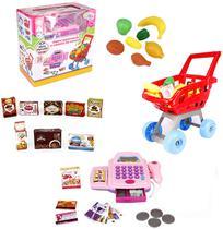 Caixa registradora rosa com som e luz + carrinho de compras e acessorios a pilha 30 pecas na caixa wellkids - Wellmix