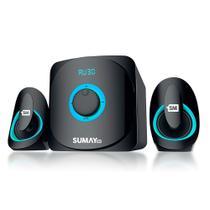 Caixa Som 2.1 Subwoofer Bluetooth USB Auxiliar Azul SM-CS3313b - Sum Impo.Brasil