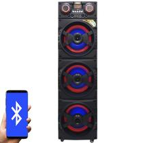 Caixa Som Amplificada Bluetooth 1500W Rms 3 Sub Mp3 Fm Usb Sd Aux Led Bivolt Amvox ACA 1515 Preta -
