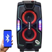 Caixa Som Amplificada Portátil Bluetooth 200W Rms Mp3 Fm Usb Sd Aux Led Bateria Amvox ACA 200 Turbo -