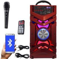 Caixa Som Portátil Bluetooth Mp3 Fm Usb Sd Aux Microfone Bateria 12W Rms Infokit Vermelha VC-M866BT -