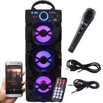Caixa Som Portátil Bluetooth Mp3 Fm Usb Sd Microfone Bateria 18W Rms Infokit Preta VC-M912BT -