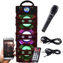 Caixa Som Portátil Bluetooth Mp3 Fm Usb Sd Microfone Bateria 18W Rms Infokit Vermelha VC-M910BT -
