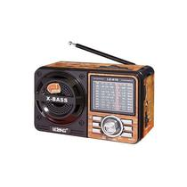 Caixa som portatil retro radio am-fm lelong le-616 - madeira