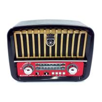 Caixa Som Rádio Retrô Vintage Mp3 Fm Am Bluetooth Portátil com lanterna - Inova -