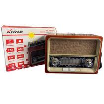 Caixa Som Retro Solar Bluetooth Radio Am Fm Usb Sd Recarregavel  XDG-71 Marrom Rajado - XTRAD