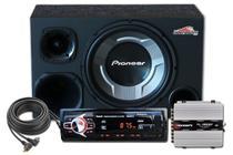 "Caixa Som Trio Subwoofer Pioneer 12"" + Driver E Tweeter + Cabo + Radio Usb Sd Mp3 Bluetooth -"