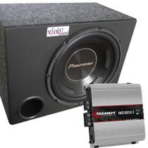Caixa Subwoofer Pioneer Ts-W3090br 600WRMS 12 Pol + Módulo Taramps - Vinisound