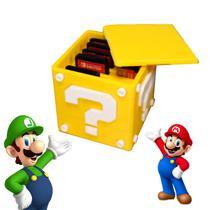 Caixa Super Mário Jogos Nintendo Switch Porta Jogos - Artbox3D