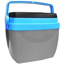 Caixa Térmica 12 Litros Cinza e Azul com Alça Mor -