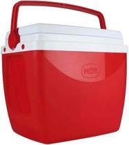 Caixa Térmica 18 Litros Cooler Com Alça Transporte Praia Piscina Verão Camping Pequena 24 Latinhas Vermelha Mor -