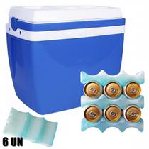 Caixa Termica 34 Litros Azul com Alca + 6 Gelos Reutilizaveis Gela Lata  Mor -