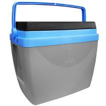 Caixa Térmica 34 Litros Cinza e Azul com Alça Mor -