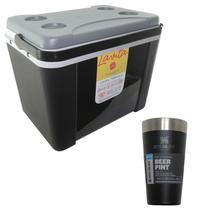 Caixa Térmica 34 Litros Lavita + Copo Térmico de Cerveja Stanley 473 ml Preto -