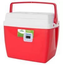 Caixa térmica de 34 litros VERMELHA com termômetro digital máximo e minimo - Mor