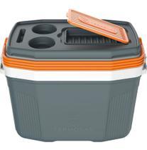 Caixa Térmica Suv 20 Litros Termolar Cooler C/ Alça Resistente CINZA C/ LARANJA -
