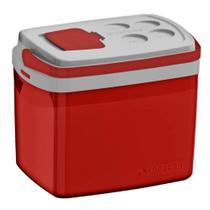 Caixa Térmica Tropical 32 Litros Tampa Acesso Rápido e Alça - Vermelha - Soprano