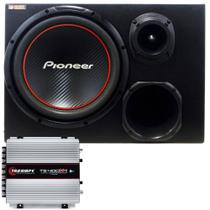 Caixa Trio Amplificada Pioneer W304R + Kit Fiamon + TS400X4 - Cia do som