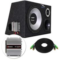 Caixa Trio Completa 340 RMS Subwoofer Magnum + Tweeters + Drivers + Módulo 400W Rms Montada - Prime