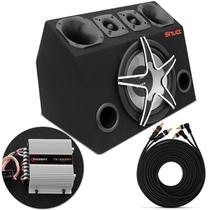 Caixa Trio Completa 630W RMS Subwoofer Magnum + Tweeters + Drivers + Módulo TS400x4 Montada - Prime