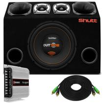 "Caixa Trio Completa 780W Bomber Outdoor Subwoofer 12"" + Tweeters + Drivers + Módulo TS400 Montada - Prime"