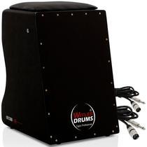 Cajón Eletroacústico Black Witler Drums  02 Cabos -