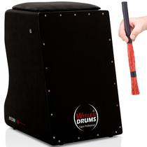 Cajón Witler Drums Acústico  01 Vassourinhas  Black -