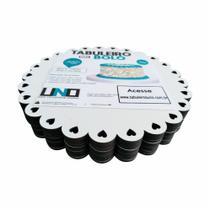 Cake Board Em Mdf de 3mm Kit com 10 Para Bolo e Confeitaria Borda Coração 15cm - Tabuleiros Uno
