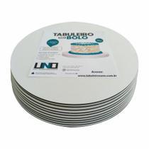 Cake Board Em Mdf de 3mm Para Bolo e Confeitaria Kit com 10 Borda Lisa 22cm - Tabuleiros Uno