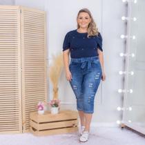 Calça Capri brim Jeans Tamanho Especial Rasgada Cintura Alta - Plus Size