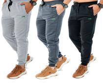 Calça De Moletom masculina Adulto Slim Sport Academia Kit com 2 Iguana Original -